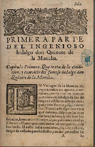 Primera Parte del Ingenioso Hidalgo, 1605
