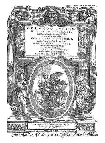 Ludovico  Ariosto, *Orlando Furioso*, Venezia, 1546