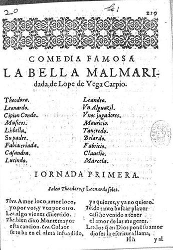 Lope de Vega, *La Bella Malmaridada*, Madrid, Alonso Martín, 1610