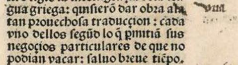 Ejemplos de abreviaturas. [*La primera y segunda parte de Plutharcho* / traducida por Alfonso de Palencia, Sevilla, 1491. BNE, Inc/314-Inc/315, f. 2r](http://bdh.bne.es/bnesearch/detalle/bdh0000005043) \label{L5_abbr}