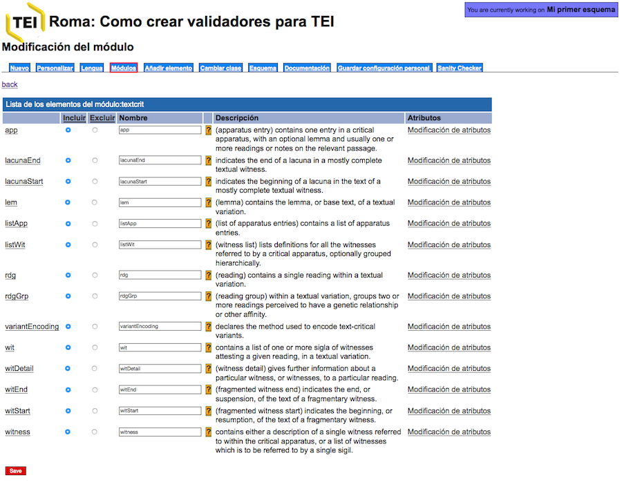 Aplicación Roma, lista de elementos del módulo textcrit \label{L6_005}